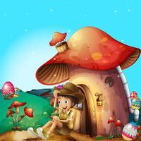 Um menino em sua casa de cogumelo