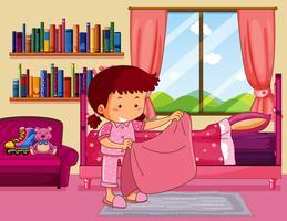 Chica haciendo cama en dormitorio