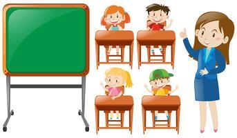 Profesor y alumnos en clase.