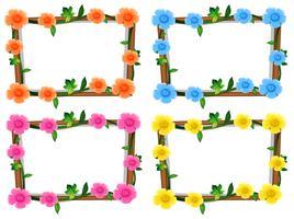 Fyra design av ramar med blommor