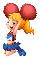 A very cute cheerdancer with her red pompoms