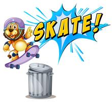 Leeuw die over een vuilnisbak met een skateboard rijdt