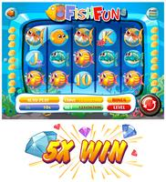 Modèle de jeu de machine à sous avec des personnages de poisson