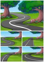 Fem scener av vägen i parken
