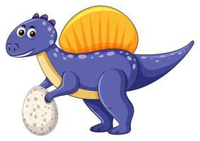 Un dinosaure spinosaurus tenant un oeuf