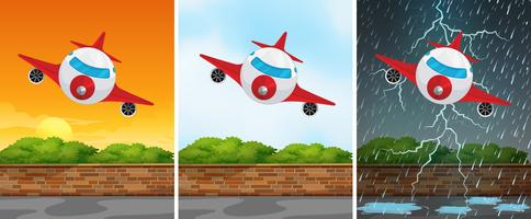 Three backgrounds with airplane flying