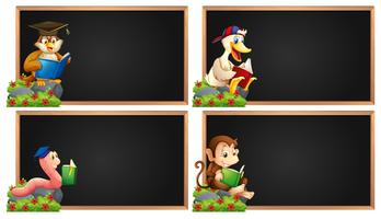 Board template with animals reading book