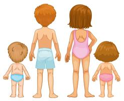 Back of boys and girls vector