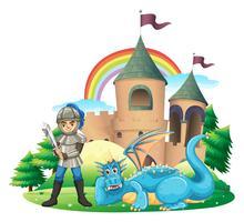 Cena, com, cavaleiro, e, dragão azul