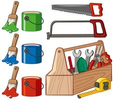 Caixa de ferramentas e baldes de tinta