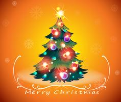 En julkortdesign med ett glittrande julgran