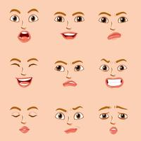 Facial expressions for female character vector