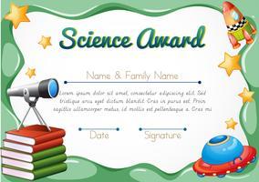 Zertifikat mit Wissenschaftsgegenständen im Hintergrund