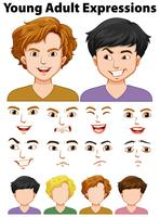 Young people expressions with different faces