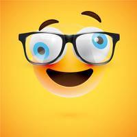 Gelber Emoticon 3D mit Brillen, Vektorillustration