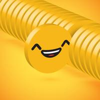 Yellow high detailed 3D disc emoticon selected, vector illustration