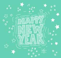 Handdrawn 'Happy New Year' illustration, vector