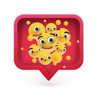 Hoog-gedetailleerde emoticons in een rode 3D toespraakbel, vectorillustratie