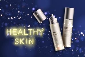 Botellas de crema hidratante detalladas con letrero de 'piel saludable' de neón, ilustración vectorial