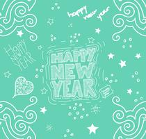 Illustrazione 'Happy New Year' disegnata a mano, vettoriale