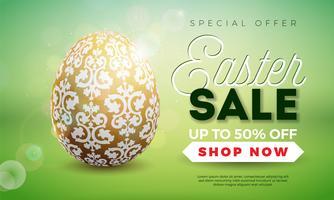 Illustration de vente de Pâques avec des oeufs peints à l'or sur fond vert brillant.