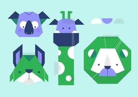 Animal Head Simple Shape Set Vector Illustration