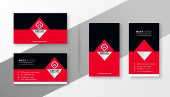 diseño elegante y rojo de tarjetas de visita