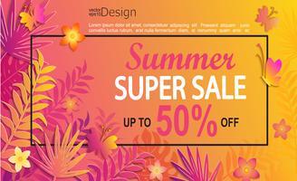Summer super sale card. vector