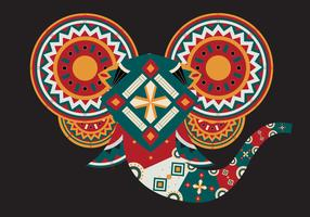 Illustrazione di vettore di testa di elefante dipinto geometrico