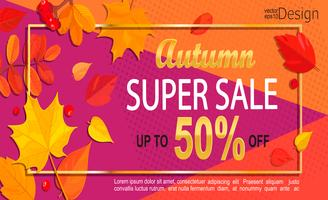 Bright geometric golden autumn super sale banner.