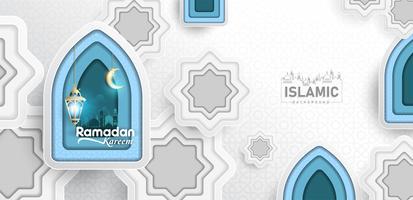 Ramadan Kareem Background paper art or paper cut style