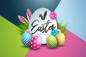 Illustration vectorielle de joyeuses fêtes de Pâques avec des oeufs peints et une fleur de printemps sur fond coloré