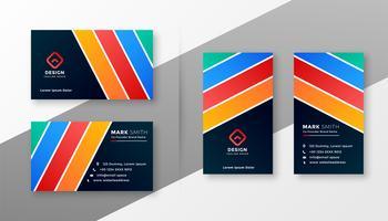 conception de carte de visite des rayures colorées abstraites