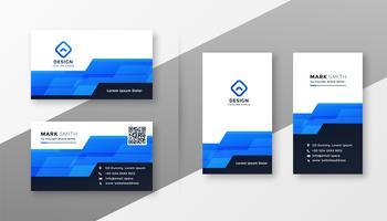 tarjeta de visita geométrica azul abstracta del estilo