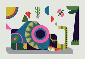 Illustrazione geometrica di vettore dell'elefante di figura semplice