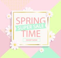 Spring sale geometric background. vector