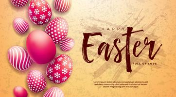 Happy Easter Illustration with Red Painted Egg and Typography Letter on Grunge Background.