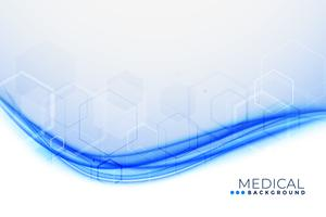 fond médical avec forme bleue ondulée