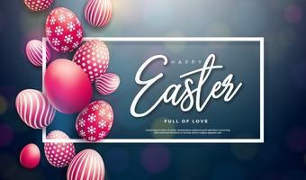 Glad påskillustration med rött målat ägg och typografi brev