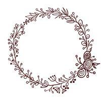 quadro redondo das folhas isoladas no fundo branco. Ilustração vetorial EPS10