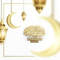Hanging Ramadan Lantern or Fanoos Lantern & Crescent moon Background in Blurry Concept. For Web banner, greeting card & Promotion template in Ramadan Holidays 2019.