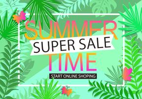 Summer sale jungle background.