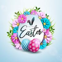 Happy Easter Holiday Design with Painted and Spring Flower on Clean Background.