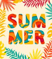 Summer card with tropical leaves on background.