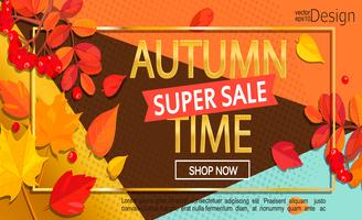 Modern stylish golden autumn super sale banner.