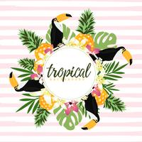 Pineapple, toucan and tropical leaves with stripes seamless pattern backgroun