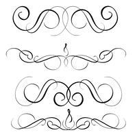 Kunstkalligraphiesatz Vintage dekorative Windungen für Design. Vektorabbildung EPS10