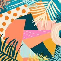Tropical jungle leaves and flowers background vector