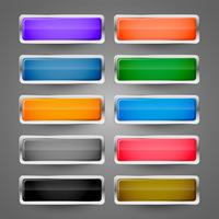 conjunto de botões web metálico brilhante em branco