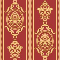 Seamless damask pattern. Gold and red texture